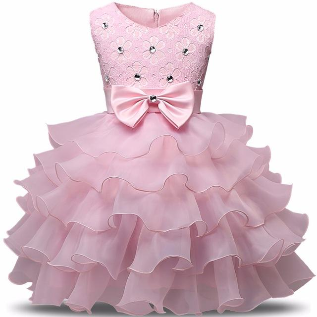 Girls Sleeveless Rhinestone Floral Lace Dress With Bow