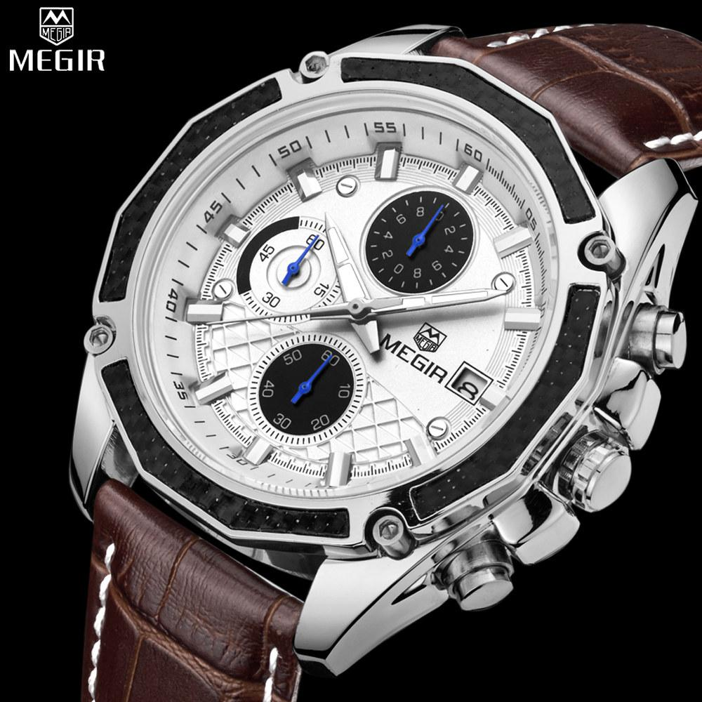MEGIR - Full Chronograph Leather Wrist Watches