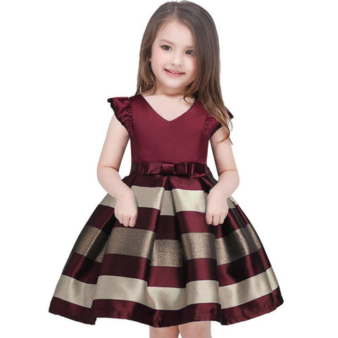 2018 Bow Striped Princess Dress