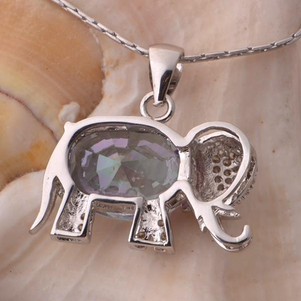 Rainbow Elephant Pendant Necklace 925 Sterling Silver. Free Shipping