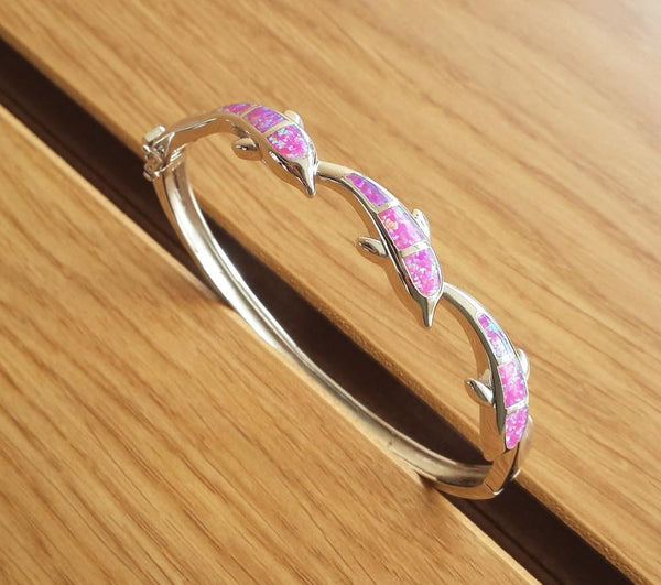 Cute Jumping Dolphin Fire Opal Bangle