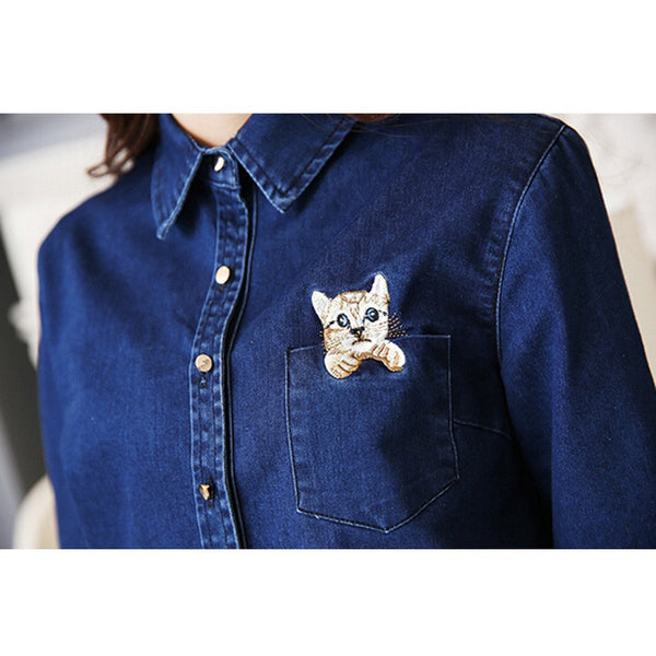 New Arrival 2016 Lovely Cat Pocket Women Blouse