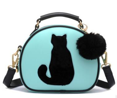 Stylish Elegant Ladies Cat Bags With Fur Ball