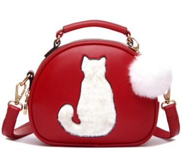 2016 Stylish Elegant Ladies Cat Bags With Fur Ball