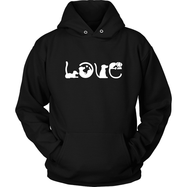 LOVE Hoodie For Dog Lovers. Worldwide Shipping