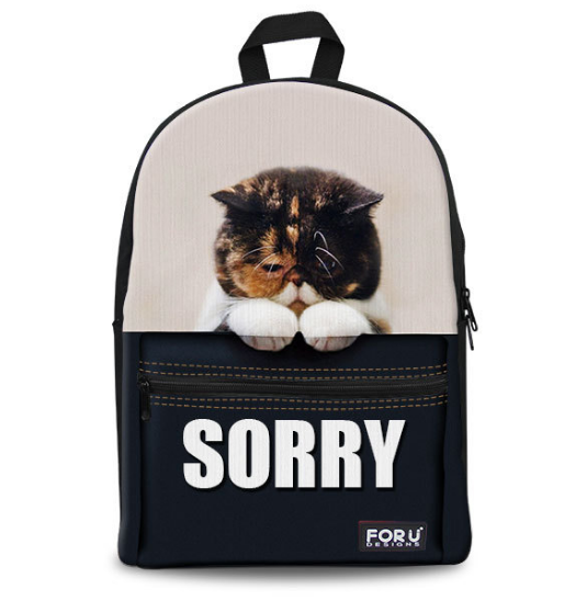 "Copy of 2016 3D Print Cat "" I am Sorry"" Girls Backpack"