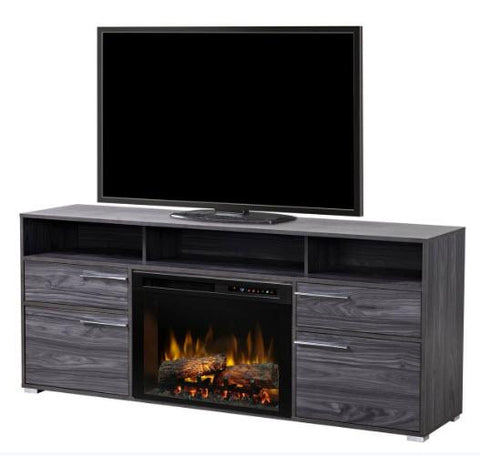 Dimplex Sander 66-Inch Media Console Electric Fireplace in Carbon Grey Finish with Realogs - GDS25L8-1686CW