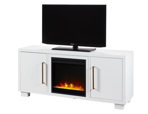 Dimplex Shelby 18-Inch Media Console Electric Fireplace- Acrylic Ice Embers - White- C3P18C9-2030W