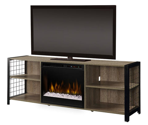 Dimplex Asher 65-Inch TV Media Console Electric Fireplace - Tudor Oak - Acrylic Ice Embers - GDS23G8-1905TU