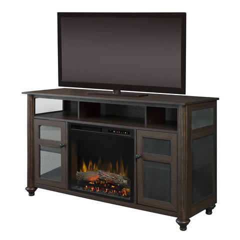 Dimplex Xavier 56-Inch Media Console Electric Fireplace in Warm Grainery Brown with Realogs -  GDS23L8-1904GB