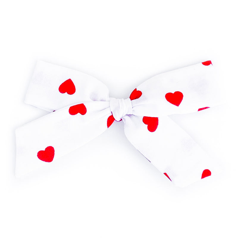 Red Hearts on White - Oversized Knot