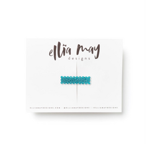 Glitter Teal - Mini Scalloped Bar Clip