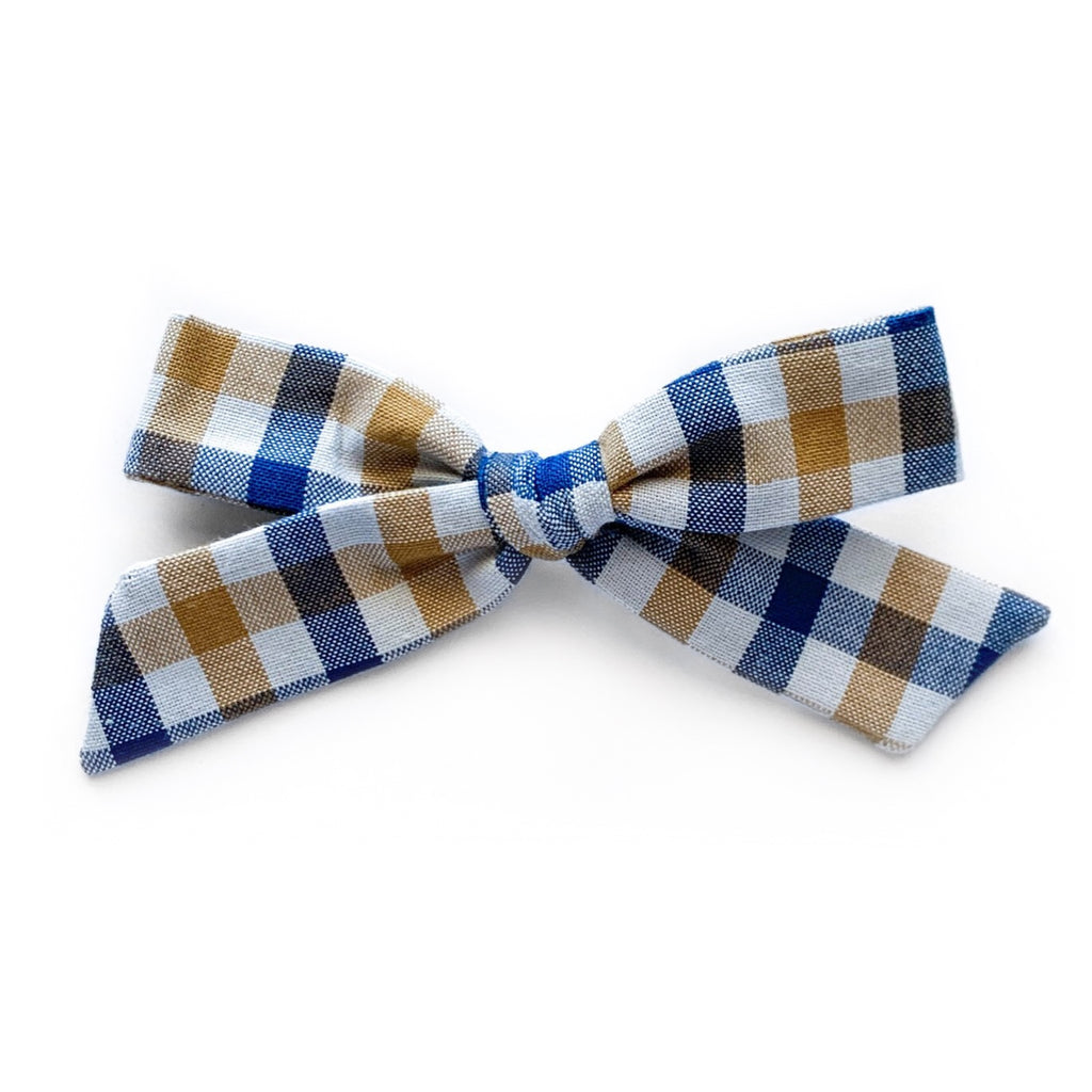 Blue and Tan Plaid - Oversized Knot