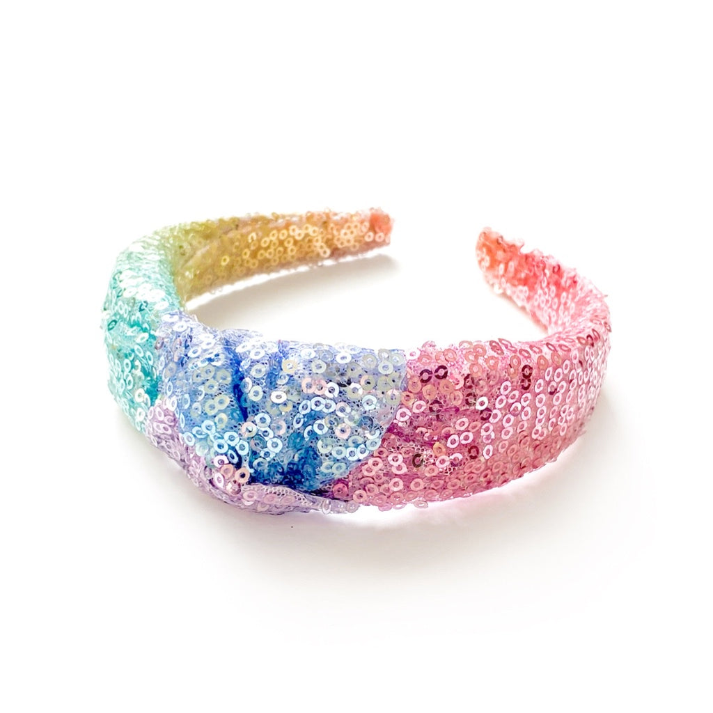 Rainbow Sequin - Knot Headband