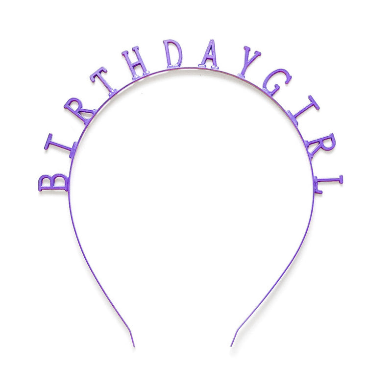 Purple Birthday Girl - Metallic Skinny Headband