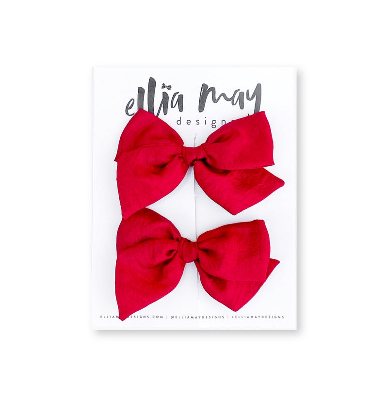 Red Silk - Mini Twirl Piggie Clips