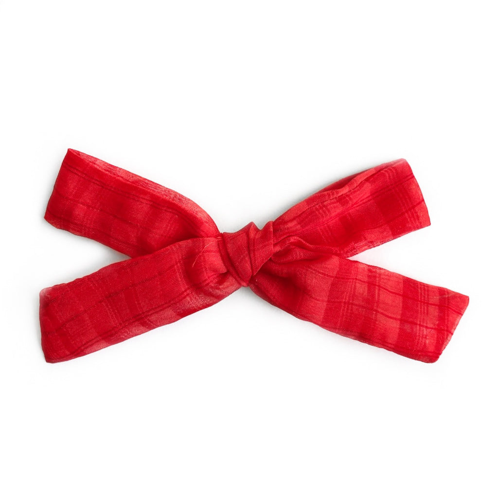 Red Plaid Georgette  - Oversized Knot