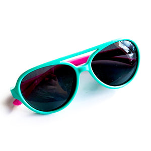 Color Block Sunnies - Teal/Pink