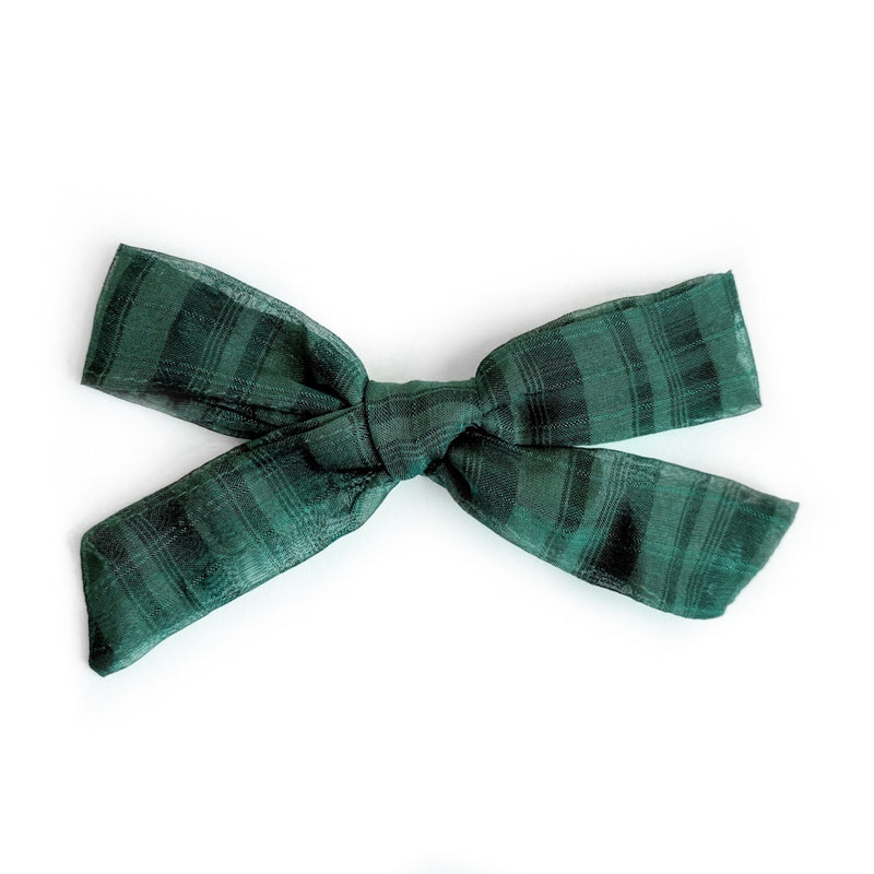 Evergreen Plaid Georgette  - Oversized Knot