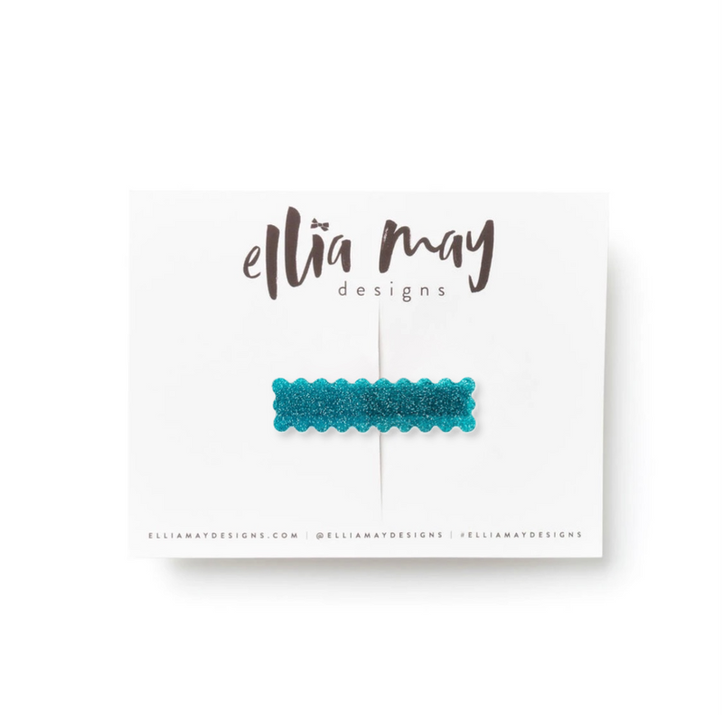 Glitter Teal - Scalloped Bar Clip