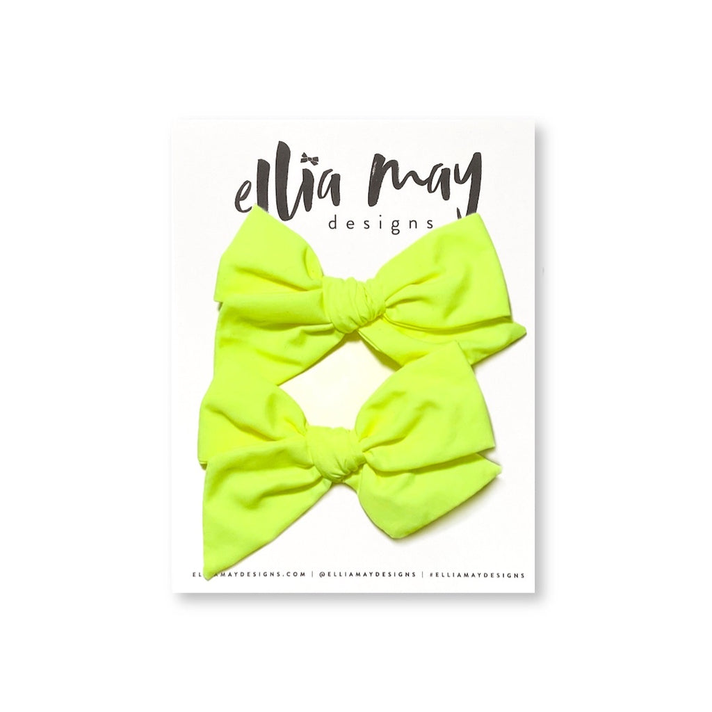 Swim Neon Yellow - Mini Twirl Piggie Clips