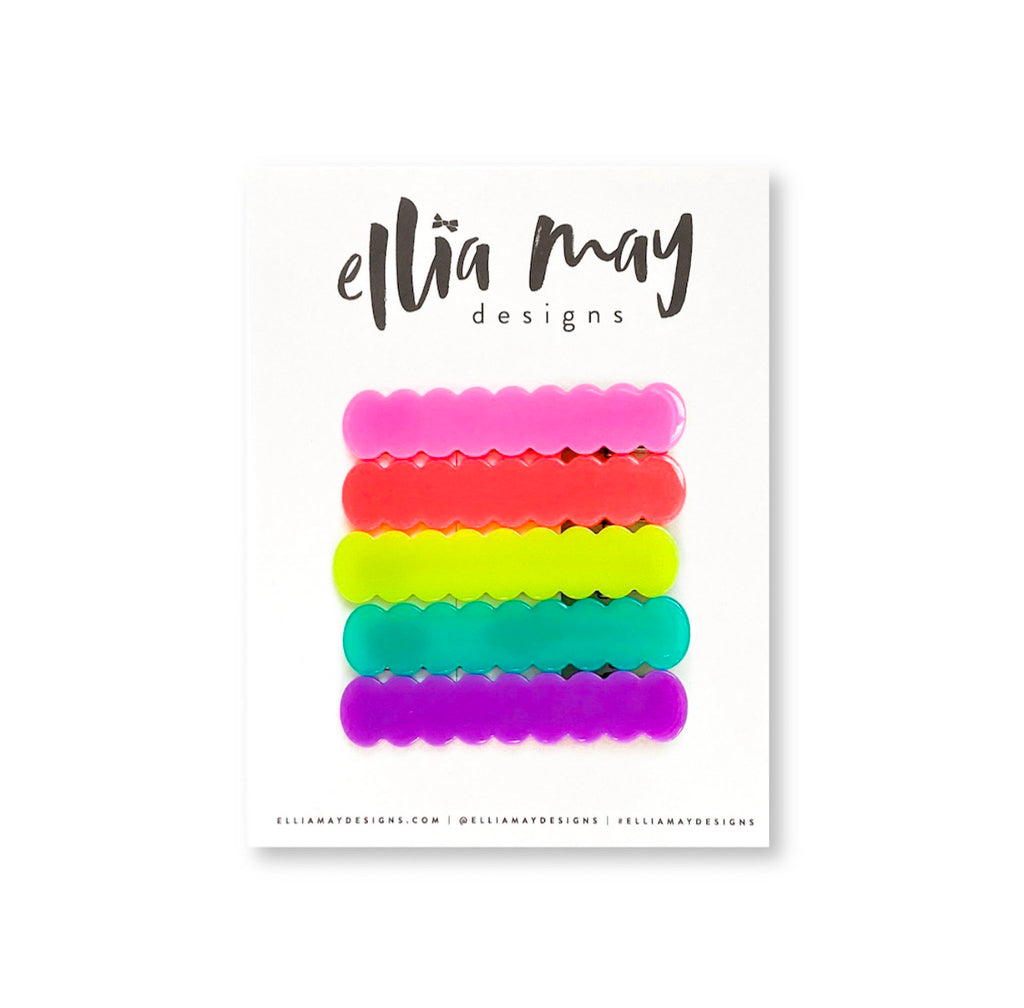 Neon Nights - Scalloped Bar Clip Bundle 2.25""