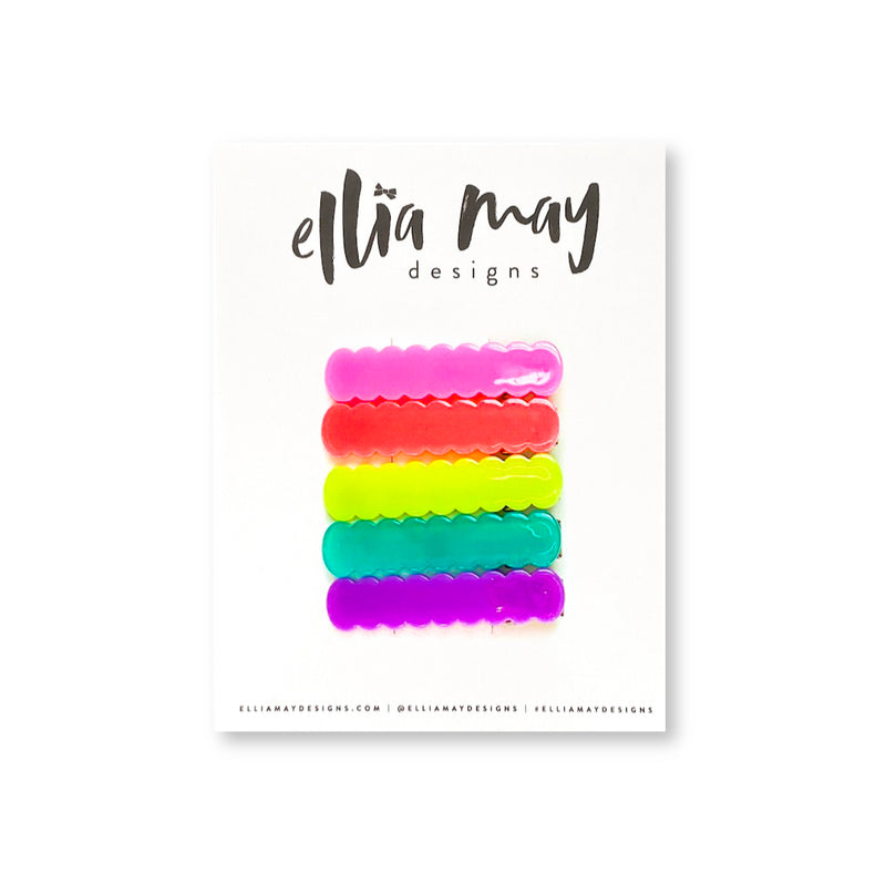 Neon Nights - Mini Scalloped Bar Clip Bundle