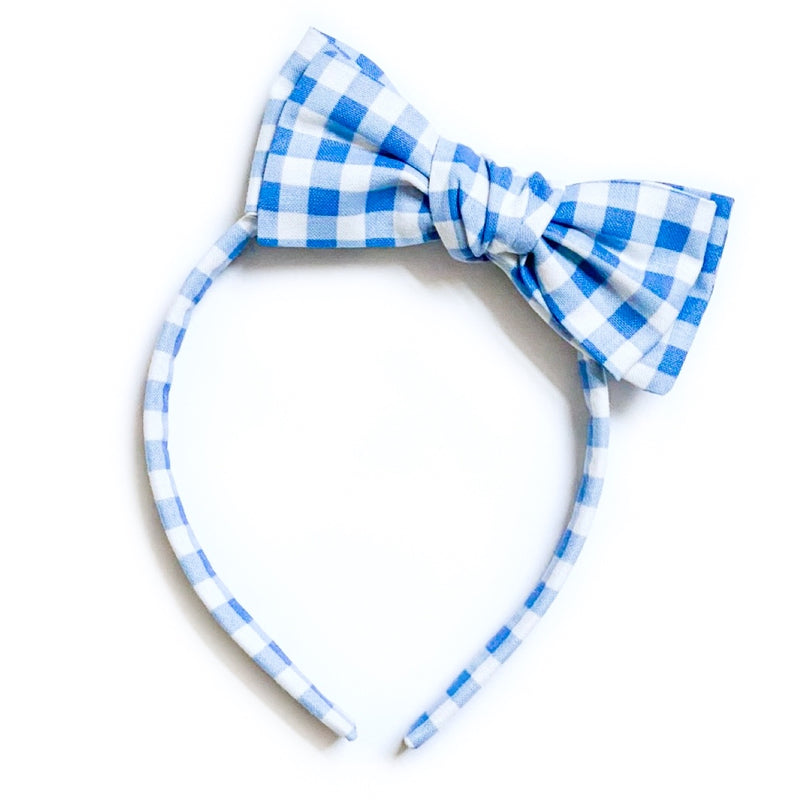 Blue Gingham - Big Girl Headband