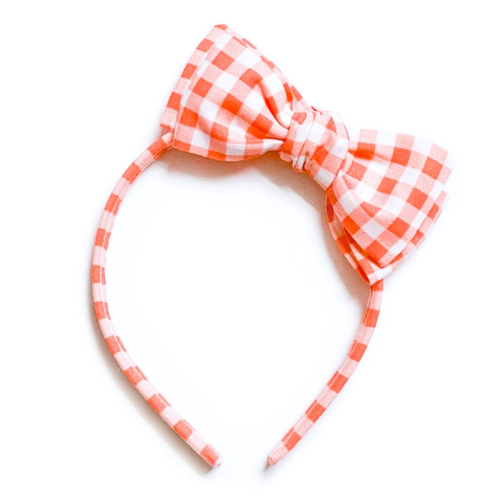 Coral Gingham - Big Girl Headband