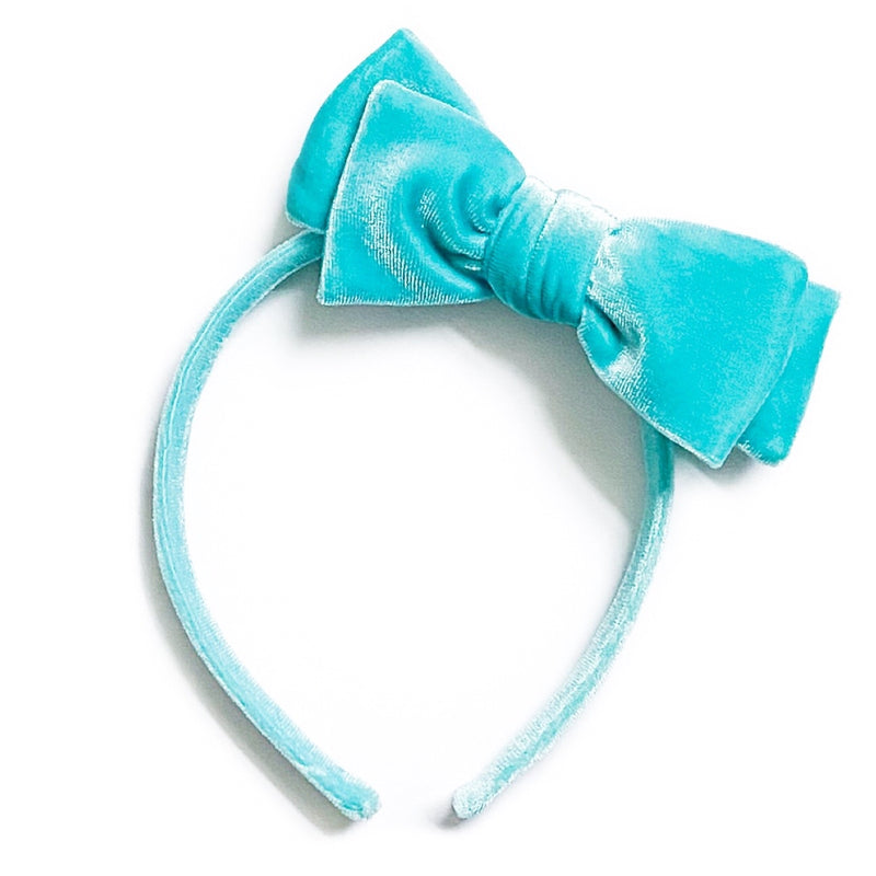 Teal Blue Velvet - Big Girl Headband