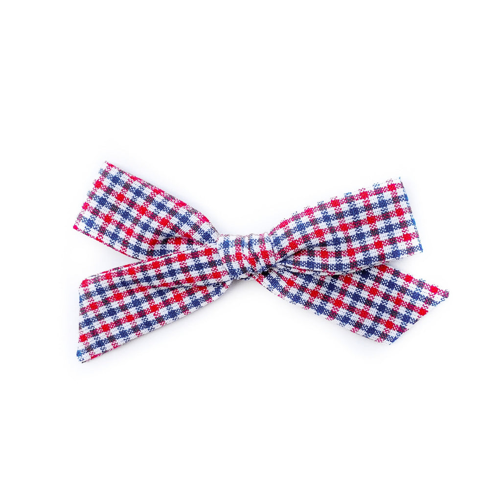 Red and Blue Mini Gingham - Oversized Knot