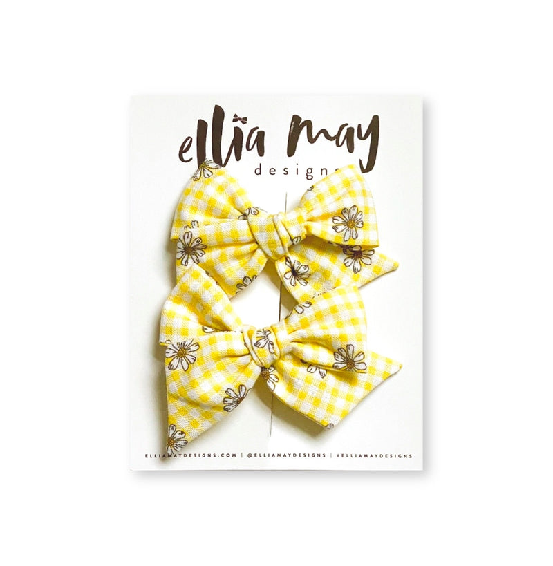 Yellow Gingham Daisies - Mini Twirl Piggie Clips