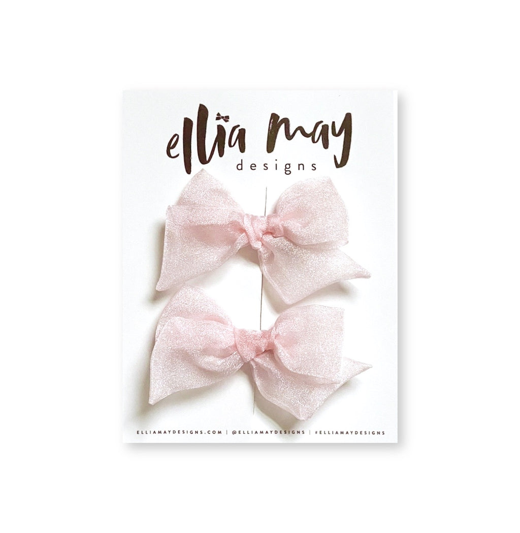 Powder Pink Chiffon - Mini Twirl Piggie Clips