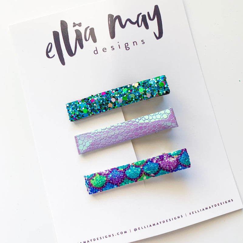 Bar Clip Set - Mermaid Glitter