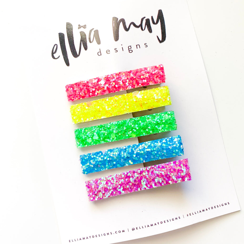 Bar Clip Set - Neon Glitter