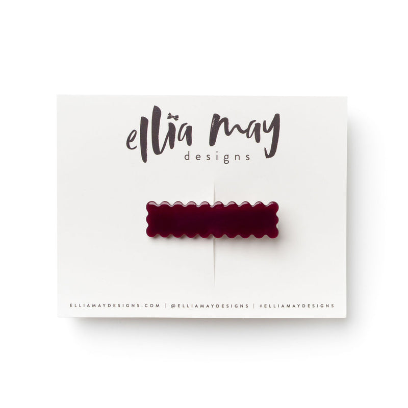 Cranberry - Scalloped Bar Clip