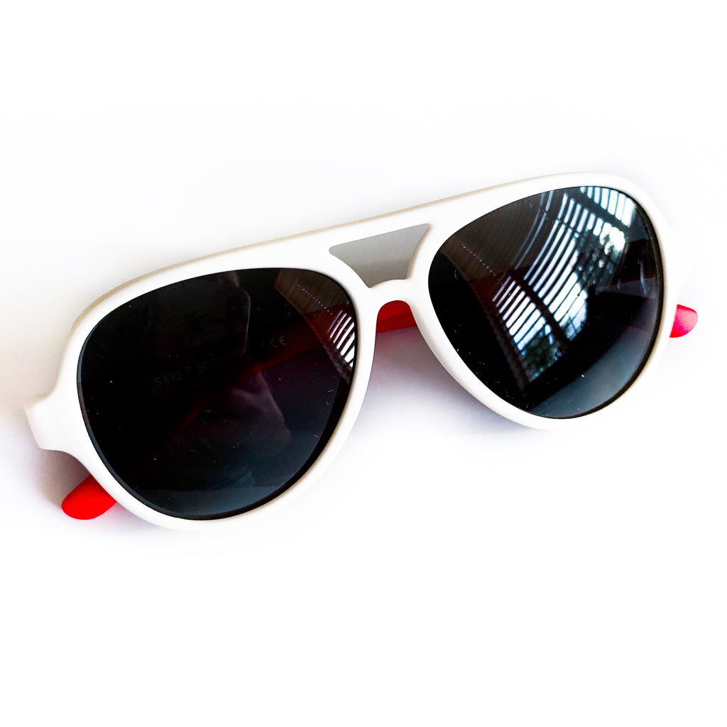 Color Block Sunnies - White / Red