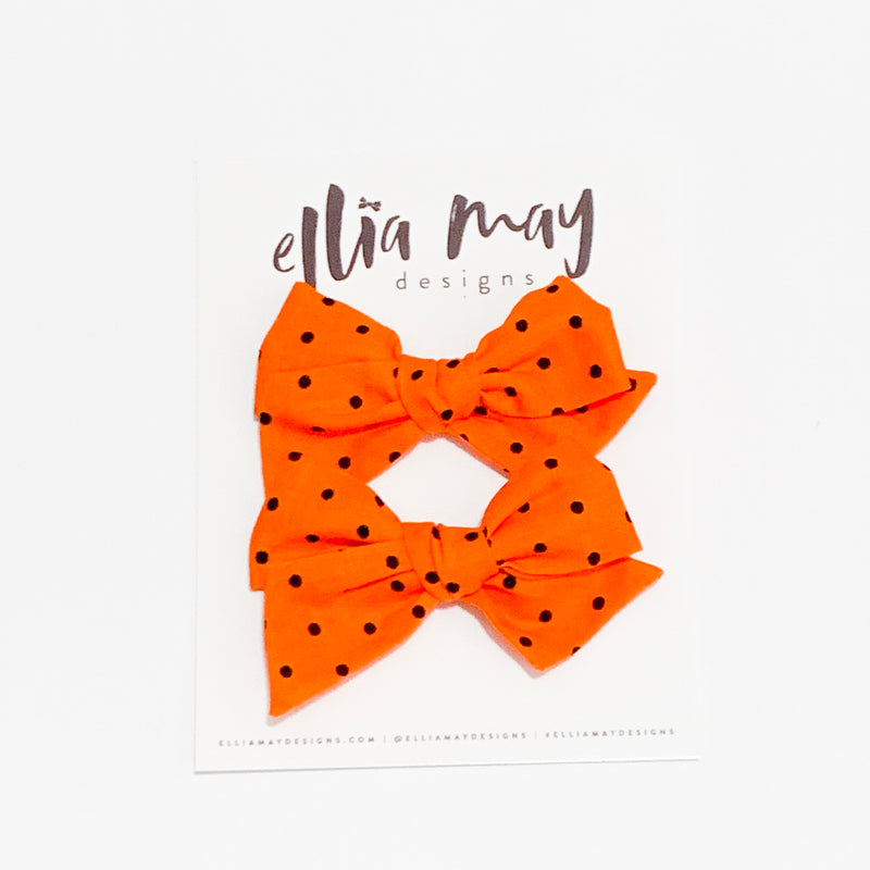 Orange Black Dot - Mini Twirl Piggie Clips