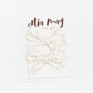 White Orange Dot - Mini Twirl Piggie Clips