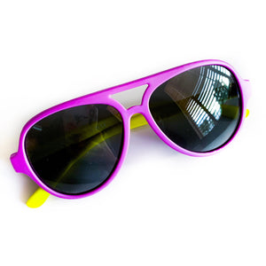 Color Block Sunnies - Purple / Yellow
