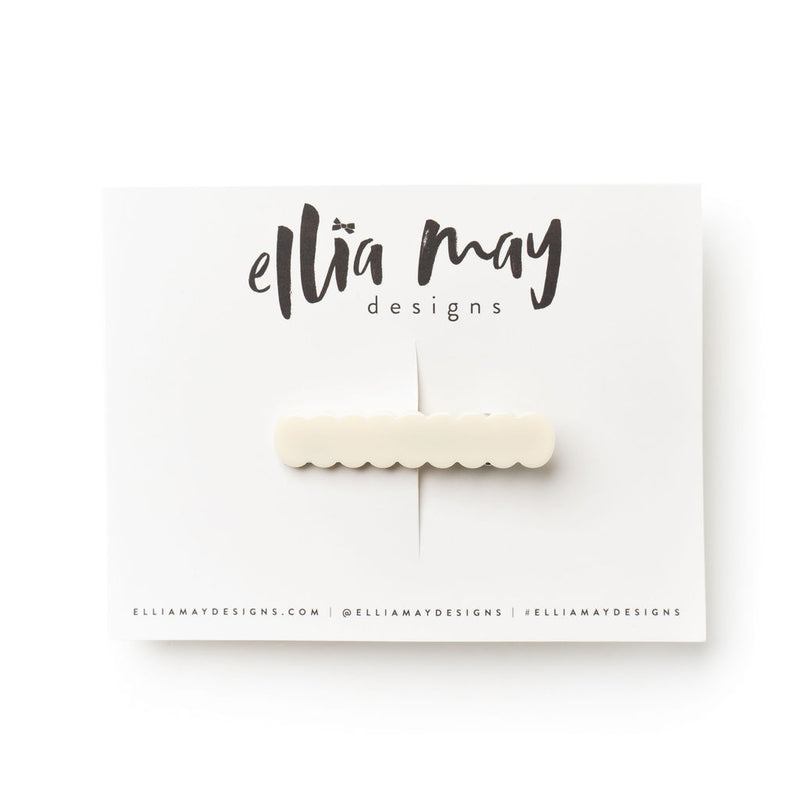 Ivory - Scalloped Bar Clip