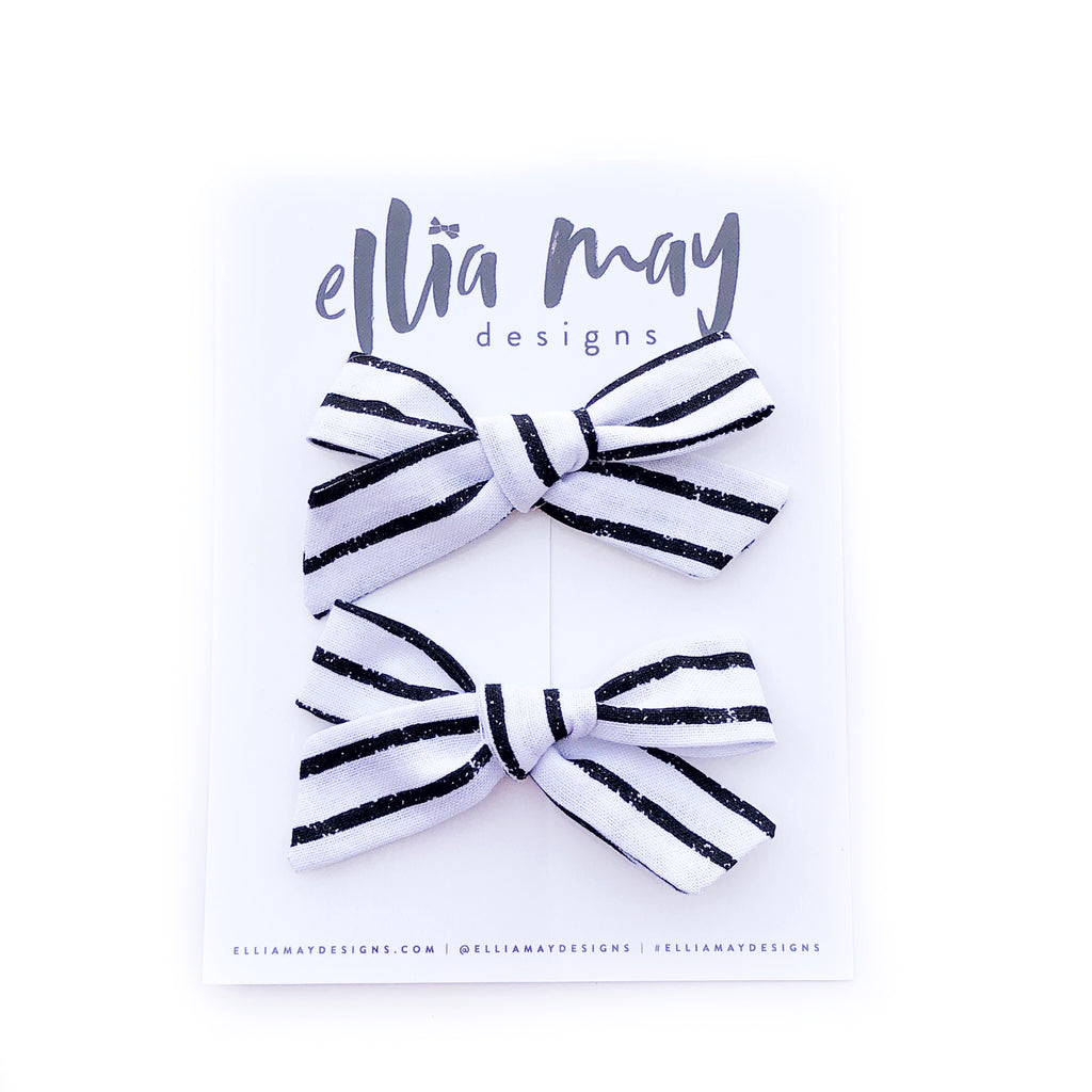 Black on White Stripes - Mini Knot Piggie Clips