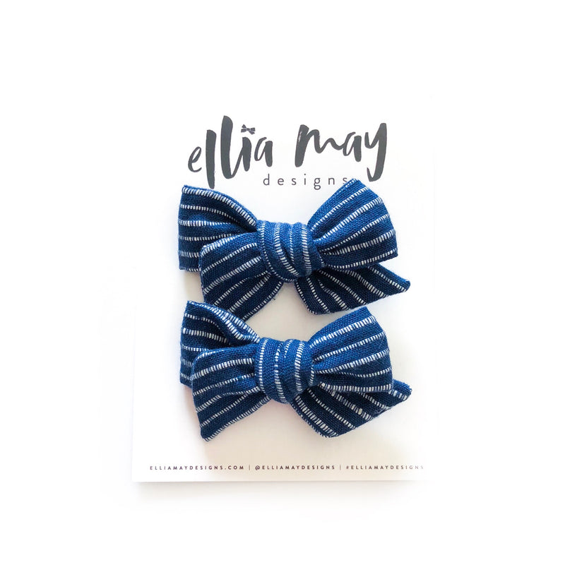Blue and White Stripes- Mini Twirl Piggie Clips