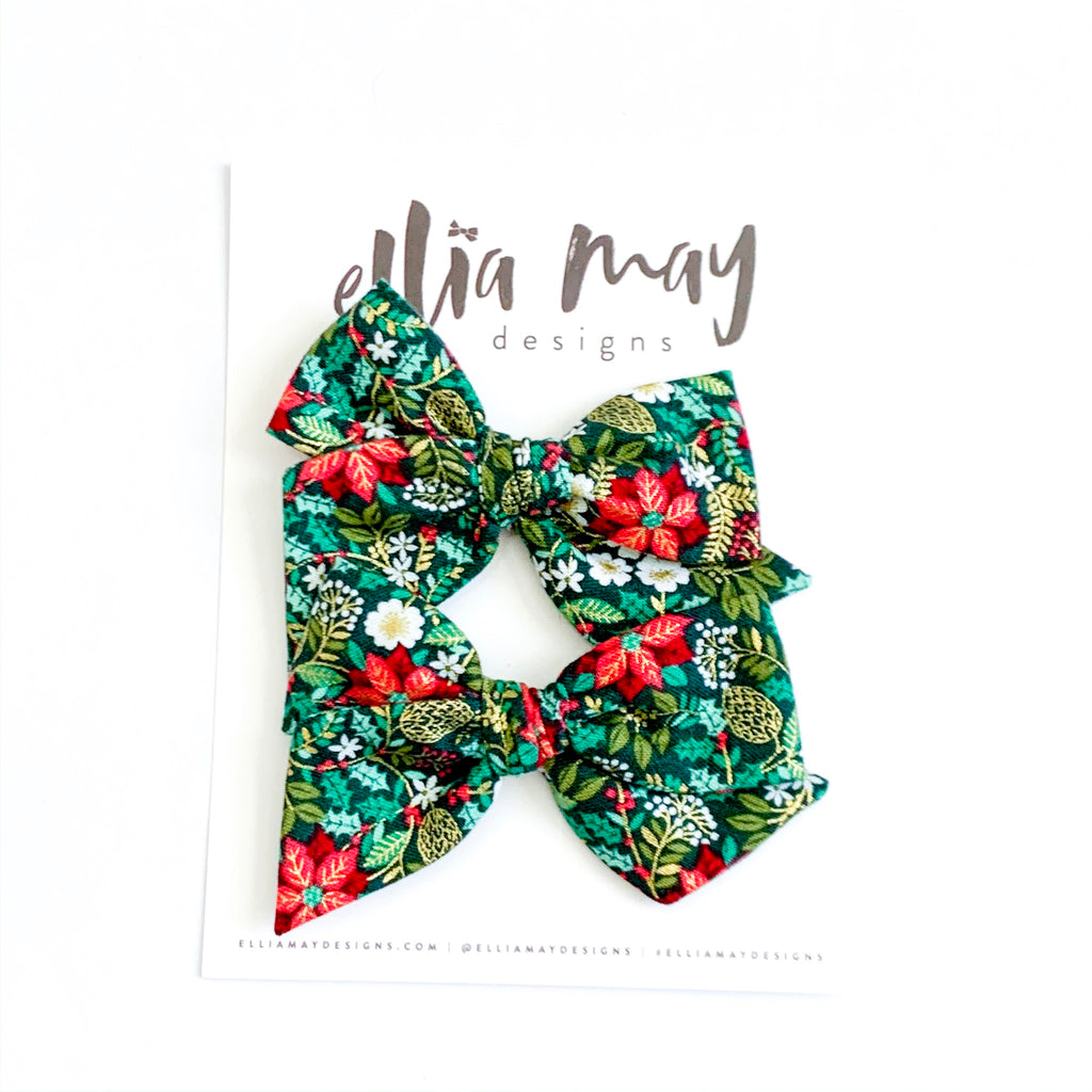 Christmas Floral Holly - Mini Twirl Piggie Clips