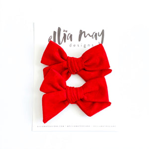 Red Suede - Mini Twirl Piggie Clips