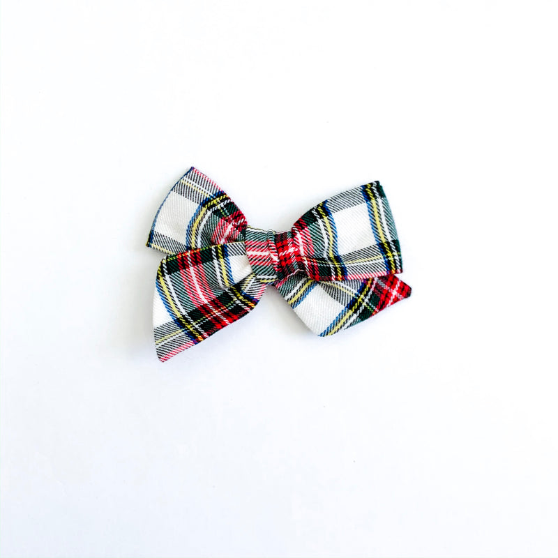 Traditional Holiday Plaid in White - Mini Twirl