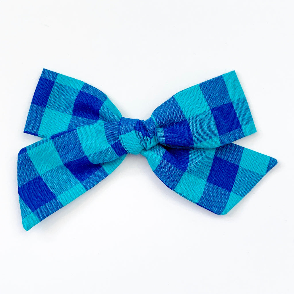 Blue and Teal Check - Oversized Knot