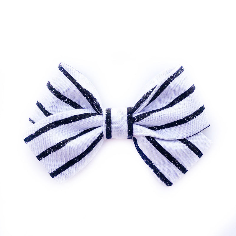 Black on White Stripes- Sailor Bow