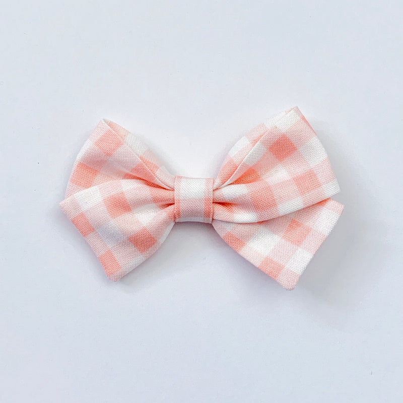 Coral Gingham - Sailor Bow