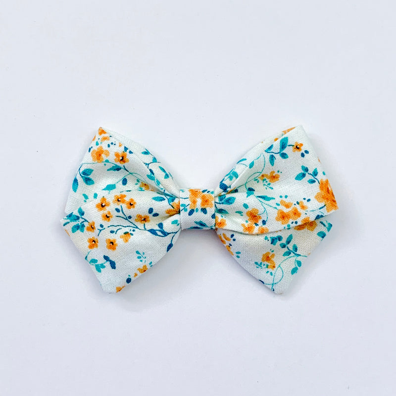 Mint and Mustard Floral - Sailor Bow